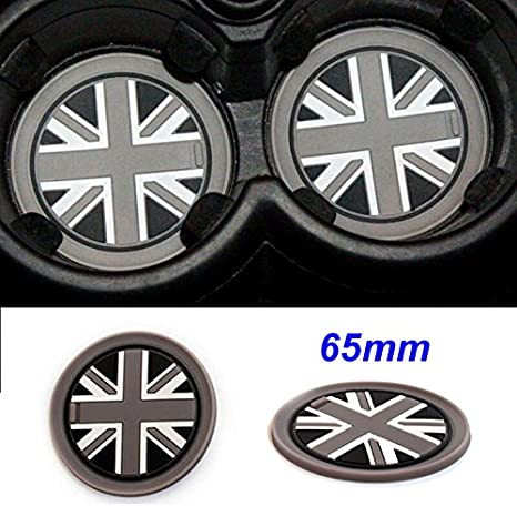 Checkered,65mm 2pcs Silica gel Water Cup Bottle Holder Anti-Slip Pad Mats For Mini Cooper Clubman Hardtop Hatchback Covertible Countryman Coupe Roadster Paceman