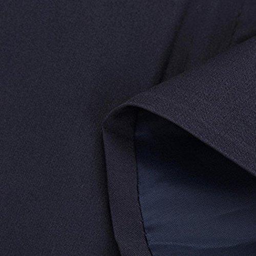 Bestfort Mantel Damen Elegant Wintermantel Warm Gefüttert V-Ausschnitt Lange Ärmel Wollmantel Übergangsmantel Zweireihig Herbst Winter Blau LUQcq8rr