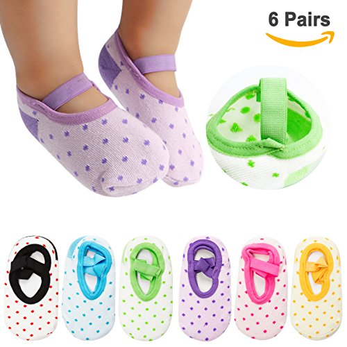 Cubaco 6 Pairs Baby Socks Non Skid Anti Slip Slipper Cotton Socks With Grips and Straps For Baby Toddler Girls from Cubaco
