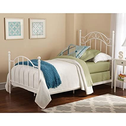 Amazon.com: Twin Girls Metal Bed, White, Traditional styling ...
