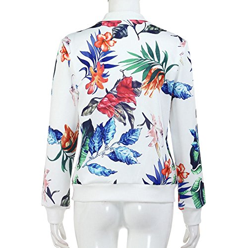 Taille shirt Automne Vêtement Cardigan Veste Hiver Floral Jacket Cher Moto Tops Manteau Casual Grande Pas Mode Day8 Blouson Chic Printemps Zipper Haut Blanc Sweat Femme Outwear fTqPqwt