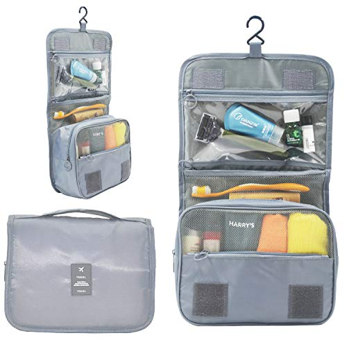 Price comparison product image Large Capacity Premium Hanging Toiletry Bag - Muti-Compartment Shower And Travel Organizer Bag With Convenient Hook - Great For Women,  Men,  Gym,  Cosmetics,  Makeup & Personal Items (Silver)