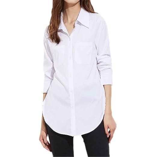 Chilie Blusa blanca dividida lateral de la calle alta de las mujeres Mujeres vuelven camisas largas de la manga del cuello L: Amazon.es: Deportes y aire ...