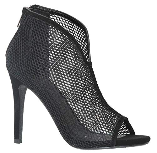 Black Fabric Heels - MVE Shoes Women's Closed Thin Heel with Mesh Fabric, Parvin Black mesh 9