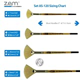 ZEM Brush White Bristle Stiff Fan Brush Set Size