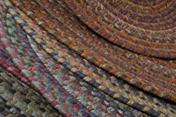 Multi-Colored Rug 4ft. x 6ft. Oval Braided Soft Wool Rustic Carpet