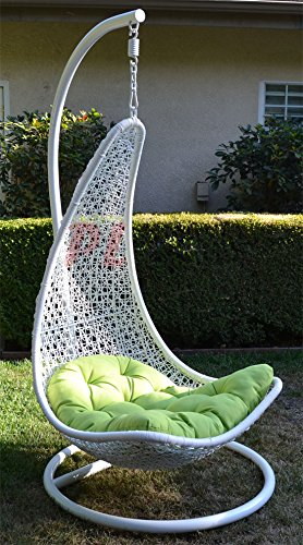 Egg Shape Wicker Rattan Swing Bed Chair Weaving Lounge Hanging Hammock   White / Lime