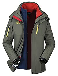 Men's 3-in-1 Polar Fleece Outdoor Tech Jacket Windbreaker Outerwear with Liner