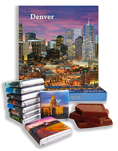 DA CHOCOLATE Candy Souvenir DENVER Chocolate Gift Set 5x5in 1 box - Square Map Washington Mall