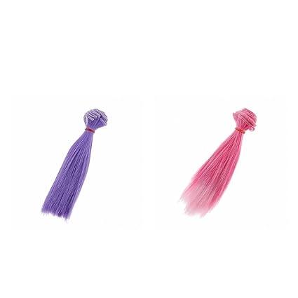 Homyl Nuevo 2 Unidades 15x100cm Peluca Cabello Rinka Corte Recto para BJD SD Muñeca Barbie -