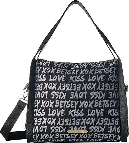 Betsey Hobo Johnson (Betsey Johnson Women's Jacquard Logo Hobo Black One Size)