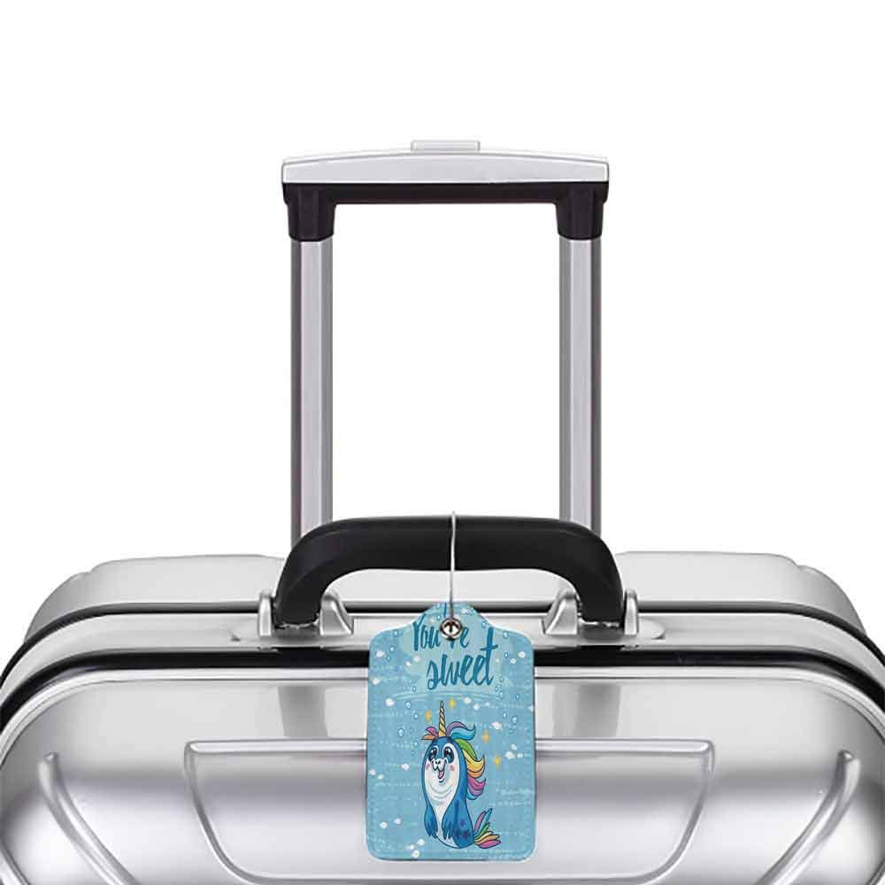 Soft luggage tag Unicorn Youre Sweet Quote with Baby Penguin Shaped Unicorn and Fish in the Sea Decor Bendable Blue W2.7 x L4.6