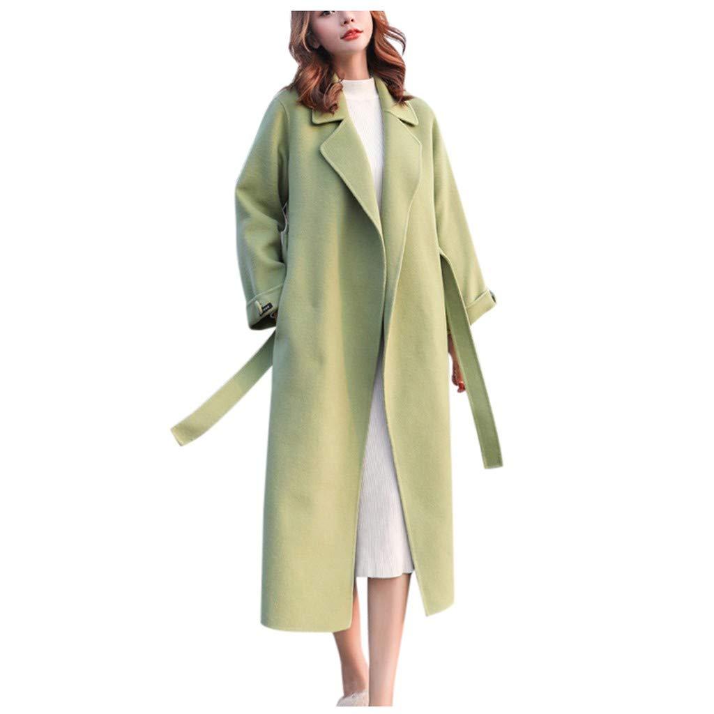 ◆ HebeTop ◆ Womens Jackets and Coats 2019 Women Work Solid Vintage Winter Office Long Sleeve Button Woolen Jacket Coat Green by HebeTop➟Women's Clothing