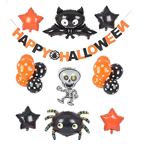 (Cute Halloween Decorations Decor Inflatable Foil Balloons Banners with Bat Spiders Ghost Set for Scary Fun Halloween)