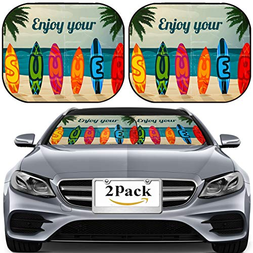 MSD Car Sun Shade for Windshield Universal Fit 2 Pack Sunshade, Block Sun Glare, UV and Heat, Protect Car Interior, Summer Vacation Surfboard Poster Tropical Paradise Island Ocean Surfing Image