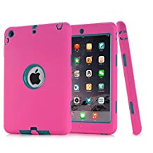 iPad Mini Case,iPad Mini 2 Case,iPad Mini 3 Case,MAKEIT Dual Layer Hybrid Armor Protection Defender Case Cover for iPad Mini 1/2/3 (Rose/Dark Green)