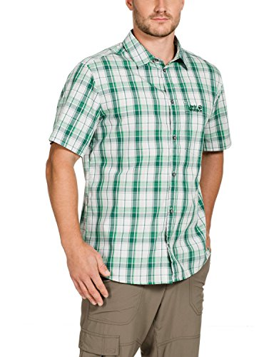 Jack Wolfskin Herren Hemd Hot Chili Men, Seagrass Checks, XL, 1400242-7559005