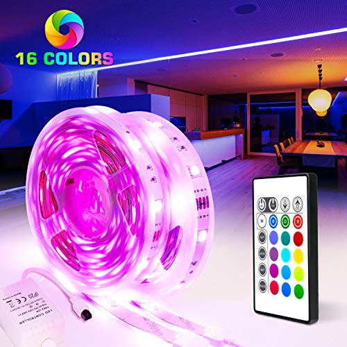 PANGTON VILLA 32.8ft, 5050 RGB, Color Changing Strip Remote for Room Kitchen, Halloween, Christmas Home Decoration Led Lights, Mood]()