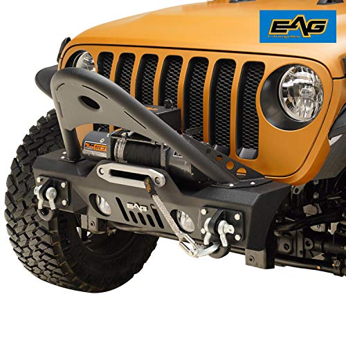 EAG Stubby Stinger Front Bumper with Fog Light Housing and Winch Plate Fit for 18-19 Jeep Wrangler JL