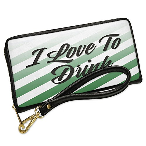 Wallet Clutch I Love To Drink St. Patrick's Day Fading Green Stripes with Removable Wristlet Strap Neonblond by NEONBLOND