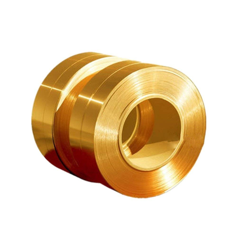 RZDEAL 3.28/1m Long Solid Brass Foil Copper Sheet Tape Conductive Roll Brass Roll Foil for Metalworking (0.01mm X 100mm)