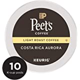 Peet's Coffee, Costa Rica Aurora, Light Roast, K-Cup Pack (10 ct), Single Cup Coffee Pods, Bright & Smooth Blend of Costa Rican & Kenyan Coffees, with Citrus Notes; for All Keurig K-Cup Brewers