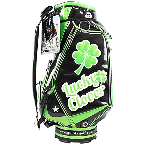 Embroidery Golf Bag (Guiote Golf Staff Bag PU Leather LUCKY CLOVER Embroidery 10.5