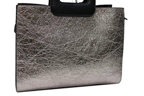 Borsa donna linea laminata modello shopping a mano Lookat c1355 platino