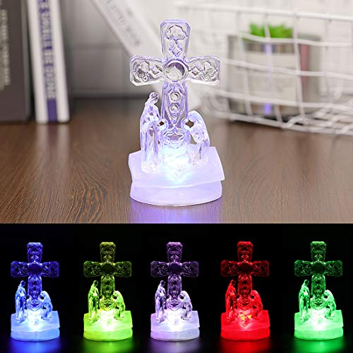 Trail Watcher Lighted Christmas Nativity Cross Decoration Heavenly Lights LED Pedestal Cross Home Decor Jesus Holy Figurine Style Religious Decor (Style -