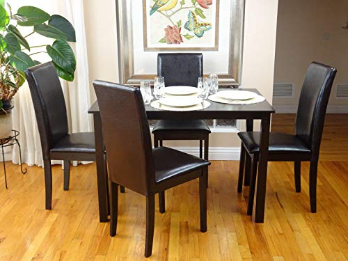 Rattan Wicker Furniture Dining Kitchen Set of 5 pcs Dining Table and 4 Side Chairs Fallabella Classic Style Wood in Espresso Black Finish