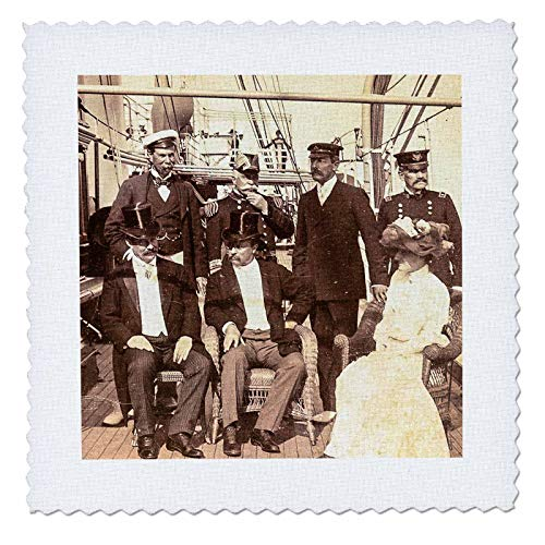 3dRose Scenes from The Past - Stereoview - President and Mrs. Roosevelt Aboard Mayflower Oyster Bay i1903 Vintage - 18x18 inch Quilt Square (qs_300307_7) ()