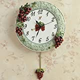 grapes wall clock - European garden antique grape wall clock mute fashion creative living room clock home clocks,Green