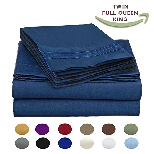 Luxury Egyptian Comfort Wrinkle Free 1800 Thread Count 6 Piece Queen Size Sheet Set, NAVY BLUE Color, 2 Bonus Pillowcases FREE!