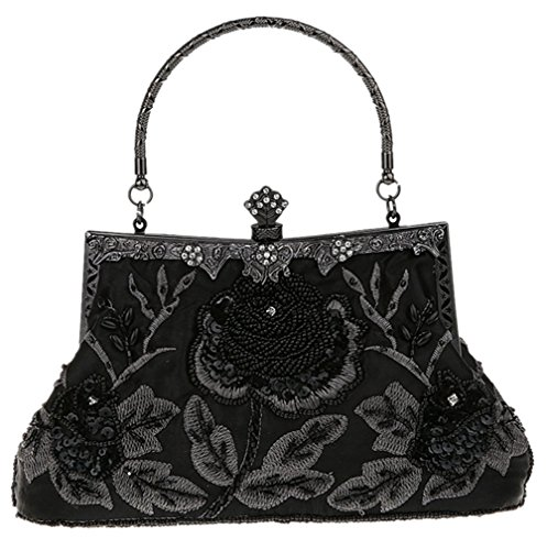 Bywen Womens Vintage Sequined Purse Party Clutch Shoulder Bags Black by Bywen