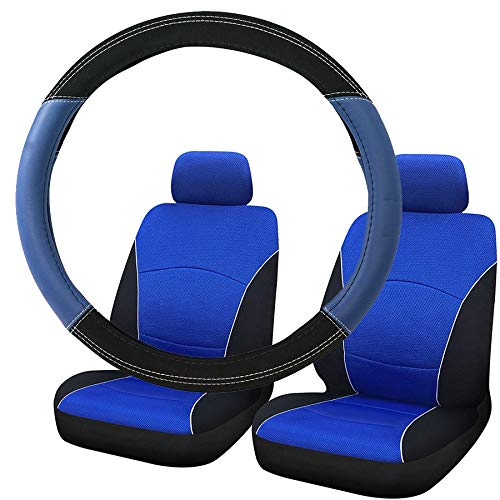 UKB4C Blue & Black Steering Wheel & Front Seat Cover set for Saab 9-3 93 All Models:
