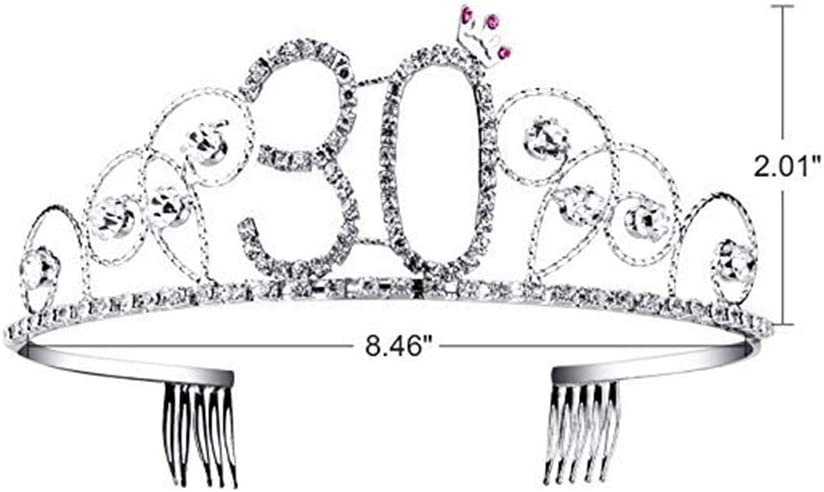 Amycute 30 Geburtstagsfeier Haarschmuck mit Sch/ärpe Kristall Geburtstag Tiara Birthday Crown Prinzessin Geburtstag Krone Haar-Zus/ätze Silber f/ür 30 lustiges Geschenk,Party Deko. Geburtstag