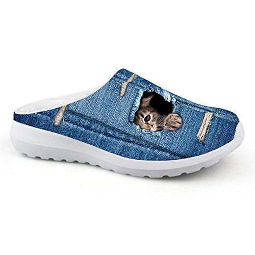 Bigcardesigns Söt Katt Sandaler Andas Avslappnad Mesh Slip-ons Lata Skor Cat2