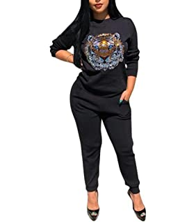 5a317a1c9d5b9 Chatinction Women's Casual Sweatshirts 2 Pieces Outfits Crewneck ...
