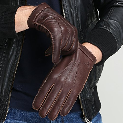 CHULRITA Mens Deerskin Leather Drivers Gloves with Wool Lining, Brown, Large by CHULRITA (Image #2)