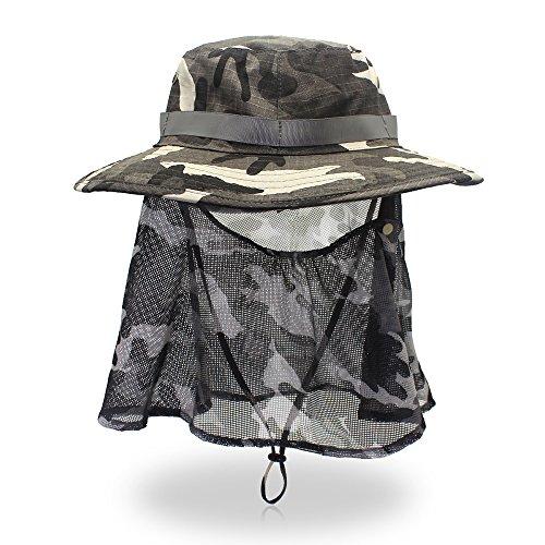 FayTop Summer Sun Hat UPF 50+ Boonie Hat Adjustable Outdoor Fishing Hat Bucket Hats Wide Brim Sun Protection Hat Women Men B16003-Dark Gray Camo ()
