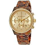 Michael Kors Champagne Chronograph Dial Tortoise Acrylic Ladies Watch MK6346