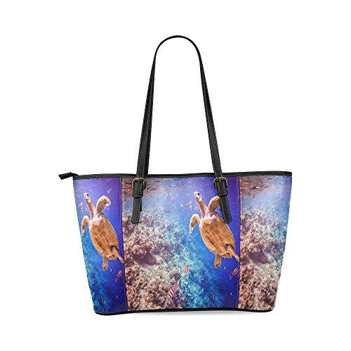 Coral Reef Bag (InterestPrint Turtle Ocean Coral Reef Leather Tote Shoulder Bag Handbag Gift for Women Girls)