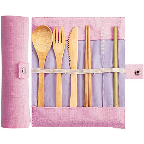 (Pstars Environmentally Friendly Children's Bamboo Tableware Set with Straws, Portable Canvas Tableware, Travel Picnic Utensils with Storage Bags Seven-Piece Set )