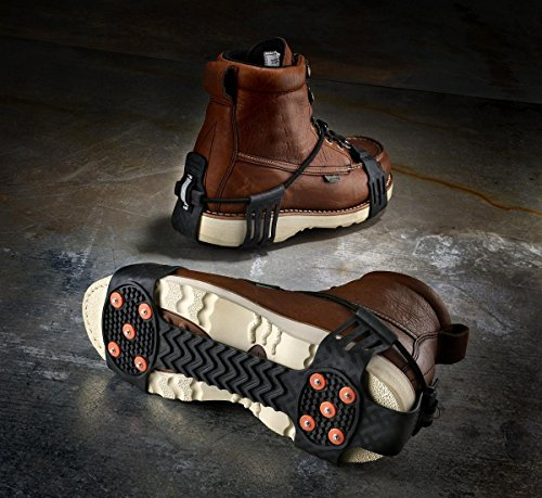 Ergodyne TREX 6310 Adjustable Traction Cleat Grips Ice and Snow, One-Piece Easily Attaches Over Shoe/Boot with Carbon Steel Spikes to Provide Anti-Slip Solution, Large (Best Grip Shoes For Roofing)