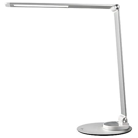 TaoTronics TT-DL22 LED Schreibtischlampe Metall Tageslichtlampe mit 6 Helligkeits- und 3 Farbstufen, Ultradünn, augenschonend