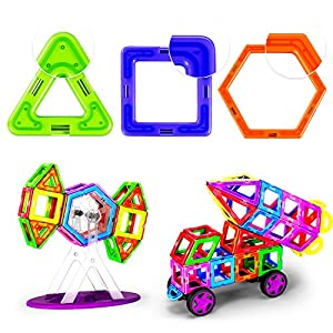 PUZINE Magnetic Building Blocks Toys Set Magnet Tiles Strong Magnet Creative Magnet Toys 3D Magnetic Blocks Educational Toy for Kids with Big Storage Bag(104pcs/68pcs)