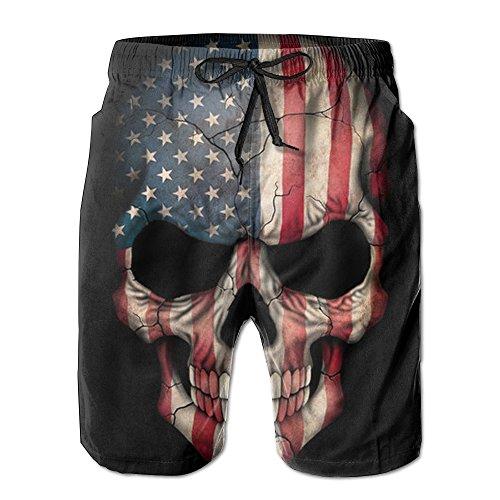 American Flag Skull Cool Men's Swim Trunk Beach Shorts - Confederate Flag Swimwear