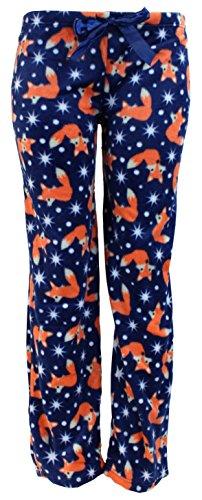 Harve Benard Women's Plush Fleece Pajama Pants (Medium, Navy Blue Foxes)