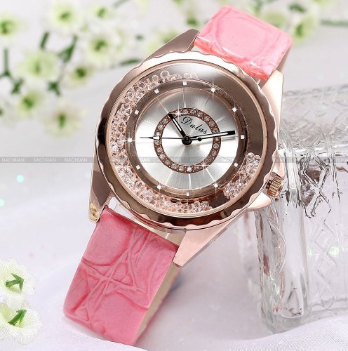 Rose Gold Case Bling Moving Crystal Lady Women Pink Leather Band Quartz Watch WK1077
