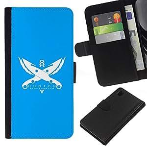 NEECELL GIFT forCITY // Billetera de cuero Caso Cubierta de protección Carcasa / Leather Wallet Case for Sony Xperia Z1 L39 // Cazador